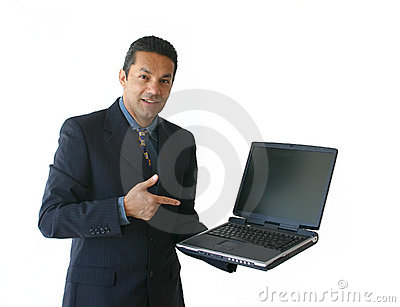 Business man with laptop - je