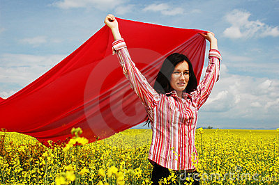Girl with big red scarf 2