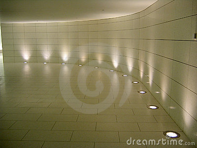 Floor lights in the underground corridor