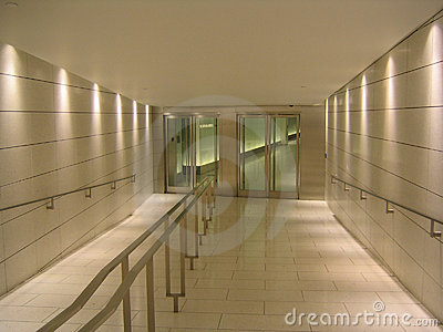 Doors at the end of underground corridor