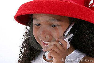 Beautiful Six Year Old Girl In Red Hat With Cellphone