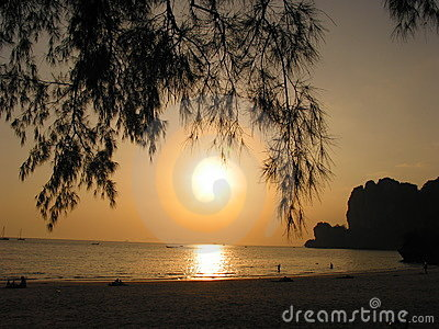 Sunset at Rai Leh beach, Krabi, Thailand