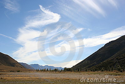 Clouds in blue sky, Arthur's Pass, New Zealand