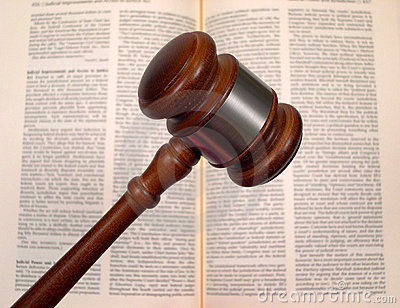 Gavel over law book