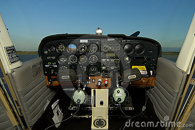 Cessna Cockpit With Headsets