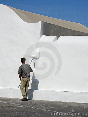 Whitewashing, a church