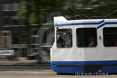 Tram speeding past