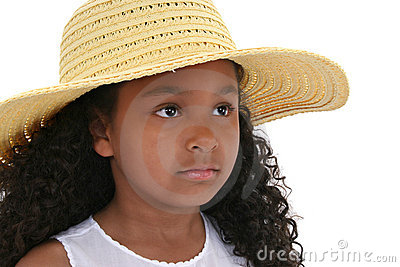 Beautiful Six Year Old Girl In Yellow  Hat Over White