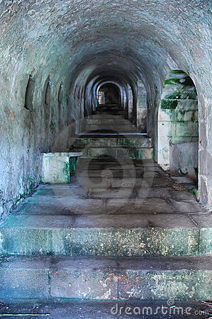 Ancient tunnel with stairs