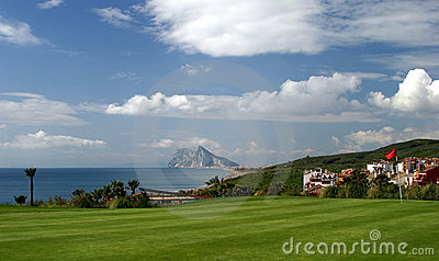 18th green on golf course with views to Gibraltar