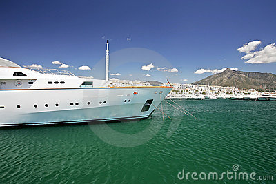 Large, white, luxurious and expensive yacht