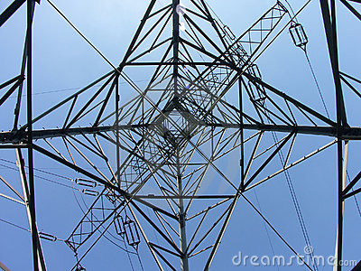 Power transmission pylon - looking up