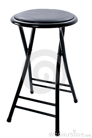 Black Four Legged Stool Over White