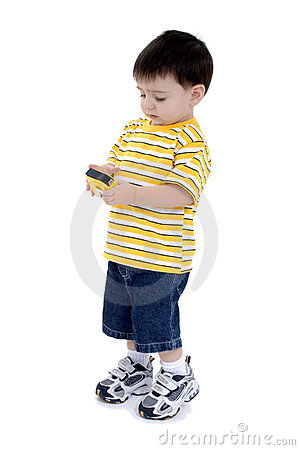 Boy In Yellow and White Strips Holding Measuring Tape Over White