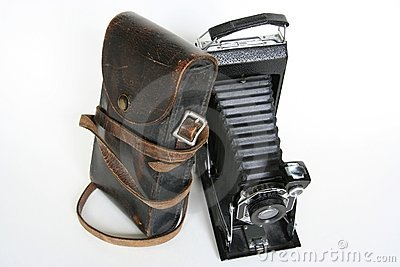 Vintage Folding Camera with Case