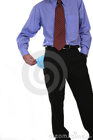 Businessman one empty pocket