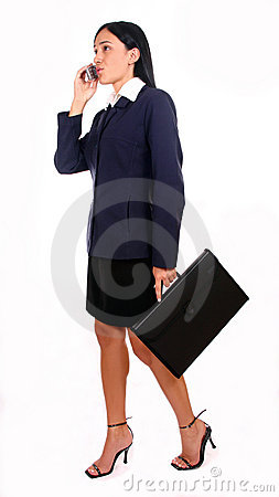 Businesswoman and briefcase