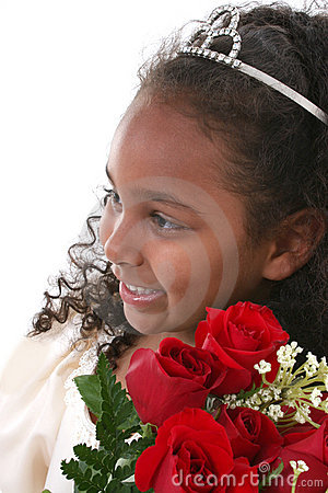 Beautiful Six Year Old With Roses Wearing Tiara