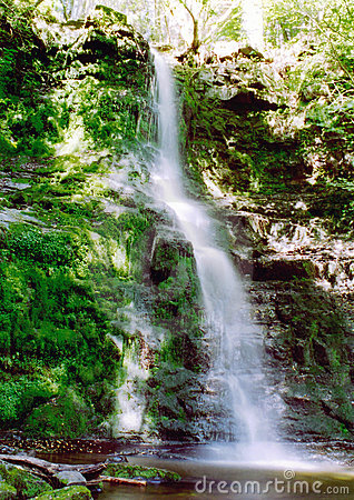 Waterfall in welsh mountains