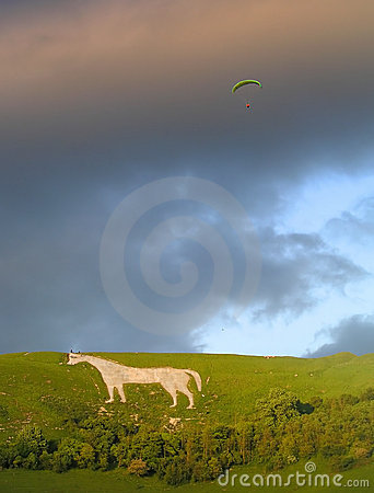 Hang Gliding off Westbury White Horse