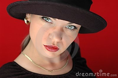 Woman in black hat 1