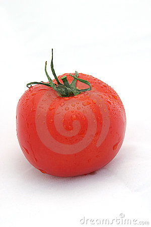 Juicy Red Tomato on White