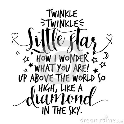 Twinkle twinkle little star text. funny vector quotes.