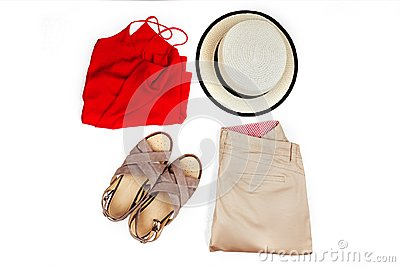 stock image of stylish, trendy feminine clothes and accessories.