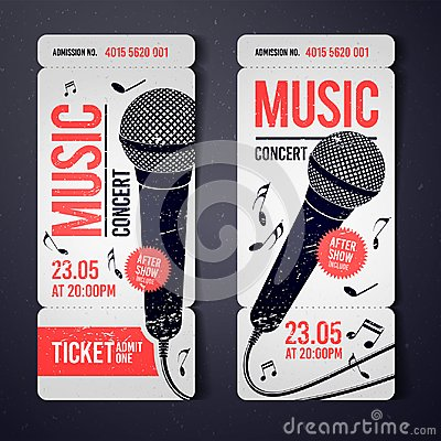 Vector illustration music concert event ticket design template with cool microphone and vintage effects
