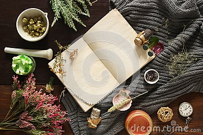 An open empty vintage notebook surrounded by herbs, alchemy appliances, potions and ingredients lies on a dark wooden table. Magic