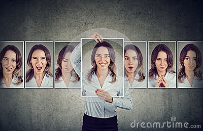 stock image of young woman expressing different emotions