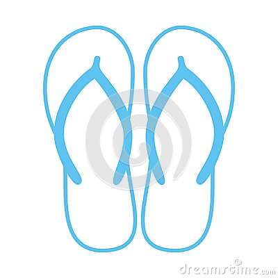 Colorful flip flops. Beach slippers. Sandals. Vector icon isolated on white