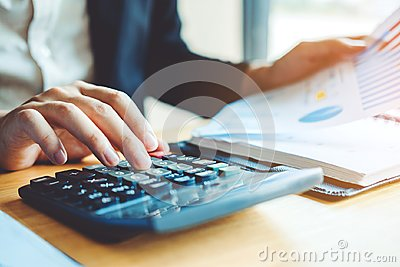 Business man Accounting Calculating Cost Economic Financial data