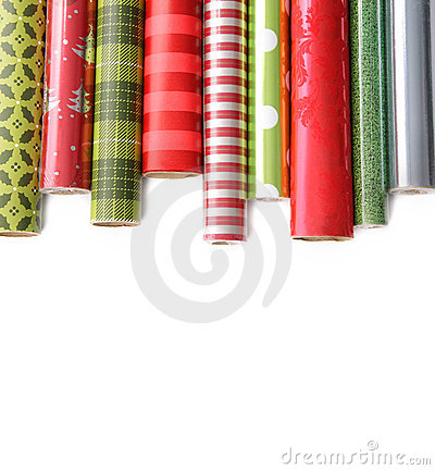 Rolls of colored wrapping  paper on white3