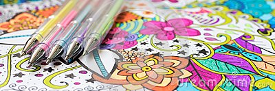Adult coloring book, new stress relieving trend. Art therapy, mental health, creativity and mindfulness concept. Web banner.