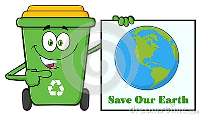 Cute Green Recycle Bin Cartoon Mascot Character Holding A Save Our Earth Sign