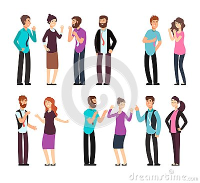 Business man, woman, and people have conversation, discussion, talking and listening. Cartoon vector characters set