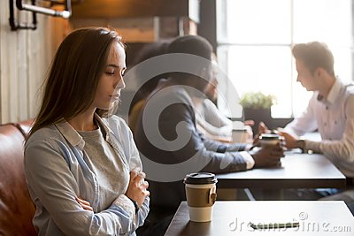 Upset rejected girl ghosted by boyfriend in coffeeshop