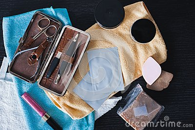 Supplies for the selfcare. Flatlay cosmetics products.