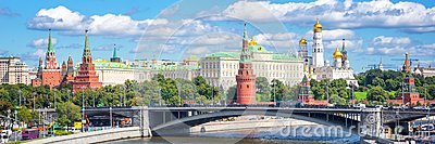 Panorama of Moscow Kremlin and the Moskva river Russia