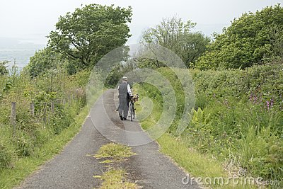 1940 delivery man on a country road