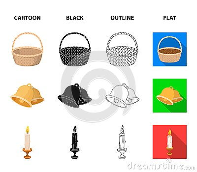 Chocolate egg, bells, basket and flowers.Easter set collection icons in cartoon,black,outline,flat style vector symbol