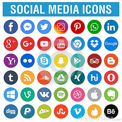 Social media icons pack round