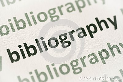 Word bibliography printed on paper macro