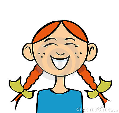 cartoon drawing of a girl with pigtails laughing.