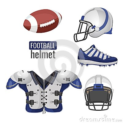 American football player outfit sportsuit vector informative poster