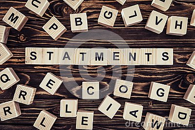 top view of of word statements made of wooden blocks