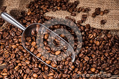 close-up shot of scoop and roasted coffee beans spilled