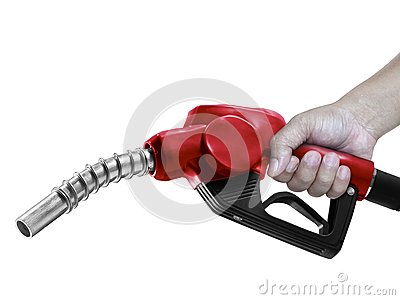 Hands holding Fuel red nozzle with hose isolated on white background
