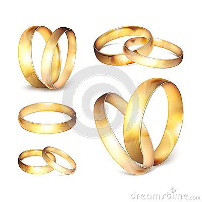 Stock vector illustration realistic gold wedding ring set Isolated on a transparent checkered background. EPS10